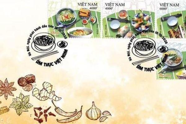 Phở gà, nem cuốn, bún thang, bún chả Hà Nội lên tem