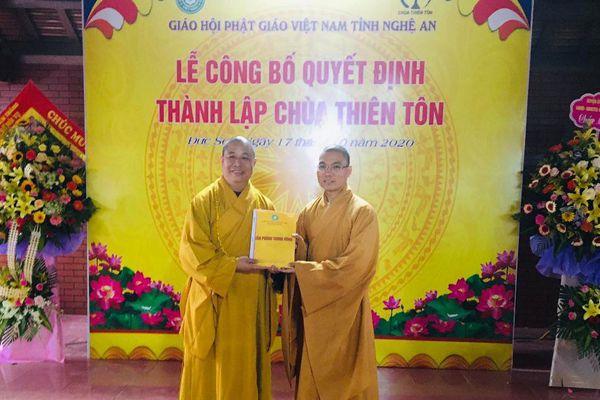 Nghệ An : Công bố quyết định thành lập chùa Thiên Tôn