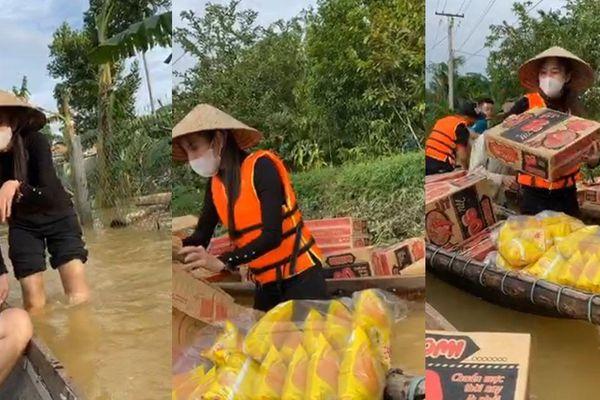 Hình ảnh ca sĩ Thủy Tiên kêu gọi được 100 tỷ đồng, lao vào lũ dữ cứu trợ đồng bào