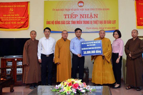 Giáo hội phật giáo Tuyên Quang chung tay ủng hộ đồng bào miền Trung bị lũ lụt