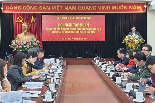 Tập huấn tuyên truyền nội dung Dự thảo văn kiện Đại hội Đảng toàn quốc lần thứ XIII cho phóng viên báo chí