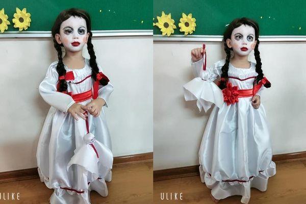 Tham dự bữa tiệc Halloween, cậu nhóc được mẹ hóa trang thành búp bê Annabelle khiến CĐM thích thú
