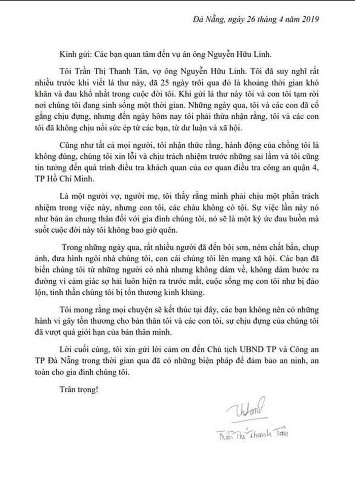 Phản ứng trái chiều tâm thư vợ 'thánh nựng' ấu dâm Nguyễn Hữu Linh - ảnh 1