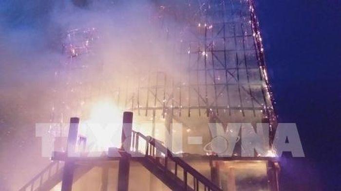 Báo Bnews: Sét đánh cháy rụi nhà rông tại Kon Tum
