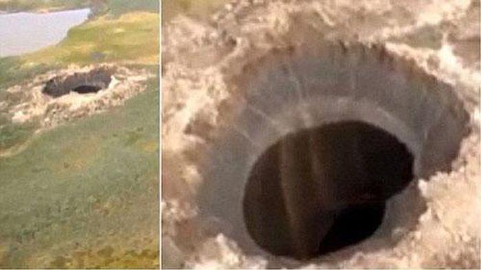 Miệng hố khổng lồ xuất hiện tại Siberia: Do thiên thạch hay UFO?