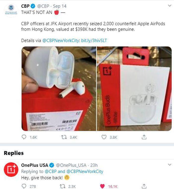 Hải quan Mỹ nhầm tai nghe OnePlus là AirPods giả