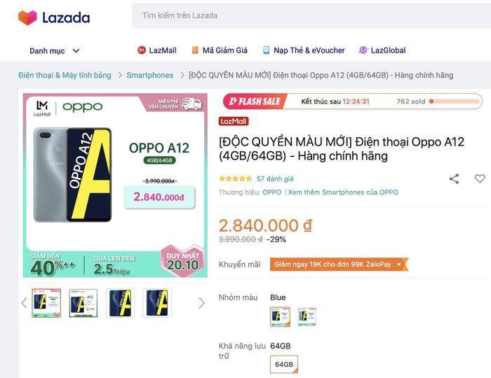 Oppo A12 lên kệ 2 màu mới giá sốc chỉ 2,84 triệu đồng duy nhất ngày 20.10