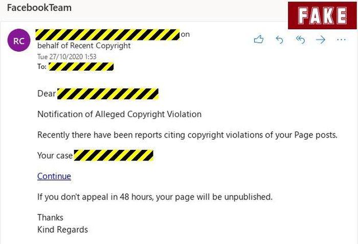 Mất tài khoản Facebook vì email cảnh báo vi phạm bản quyền