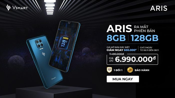 VSmart Aris nâng cấp cấu hình 8GB RAM/128GB giá không đổi